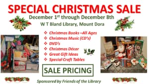 Join Us at the Friends of the Library Special Christmas Sale Dec 1-Dec 8